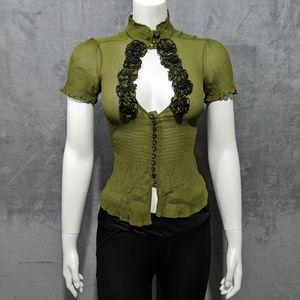 ☀️Bebe green floral sheer mock neck blouse